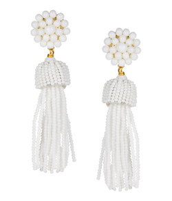 Tassel Earrings - White - Pre-sale