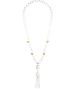 Beaded Tassel Necklace - White