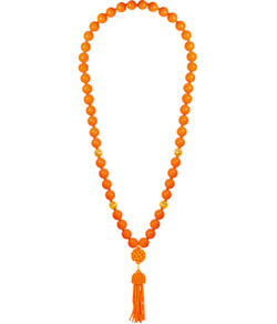 Beaded Tassel Necklace - Orange