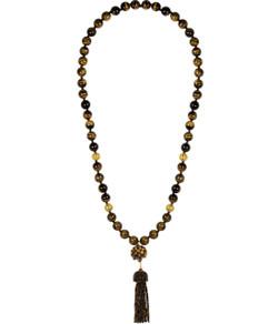 Beaded Tassel Necklace - Tiger's Eye