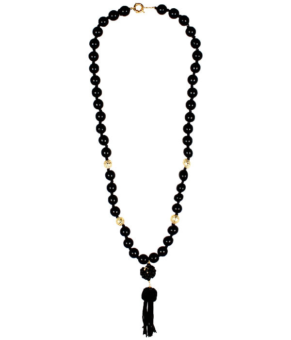 Beaded Tassel Necklace Black Lisi Lerch