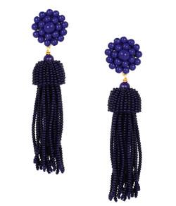 Tassel Earring - Navy- Clips on Pre-Sale