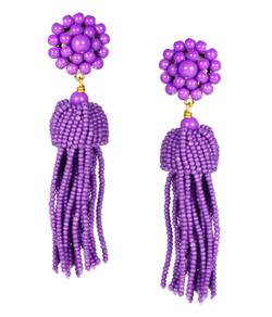 Tassel Earrings - Grape