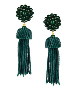 Tassel Earrings - Hunter Green
