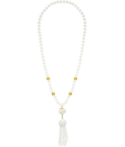 Beaded Tassel Necklace - Czech White
