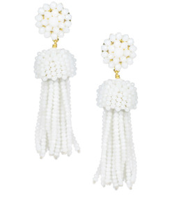 Tassel Earring - Czech White