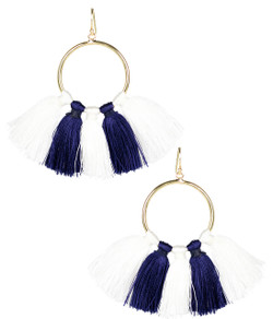 Izzy Gameday Earrings - White & Navy