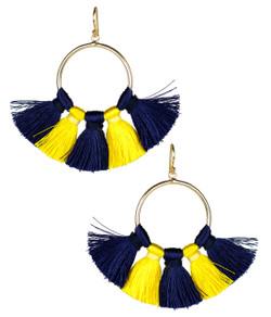 Izzy Gameday Earrings - Navy & Yellow