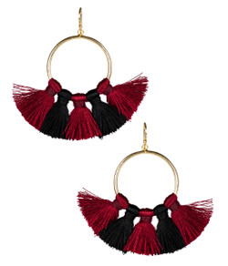 Izzy Gameday Earrings - Burgundy & Black