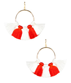 Izzy Gameday Earrings - White & Burnt Orange