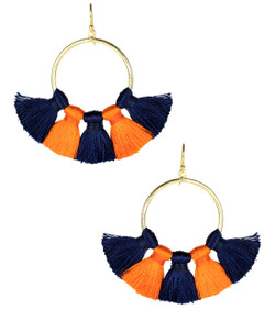 Izzy Gameday Earrings - Navy & Orange