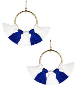 Izzy Gameday Earrings - White & Royal