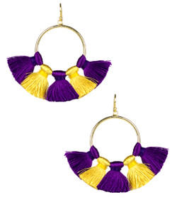 Izzy Gameday Earrings - Plum & Yellow