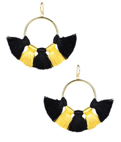 Izzy Gameday Earrings - Black & Yellow