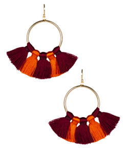 Izzy Gameday Earrings - Burgundy & Orange
