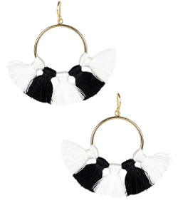 Izzy Gameday Earrings - White & Black
