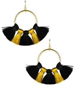 Izzy Gameday Earrings -  Black & Gold