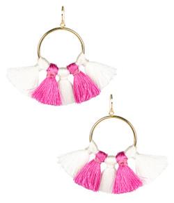 Izzy Gameday Earrings - White & Pink