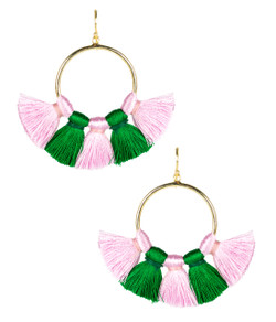 Izzy Gameday Earrings - Pink & Green