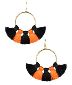 Izzy Gameday Earrings - Black & Orange