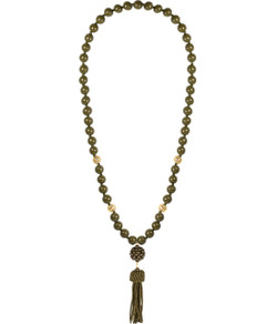 Beaded Tassel Necklace - Camo