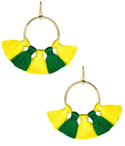 Izzy Gameday Earrings - Yellow & Emerald