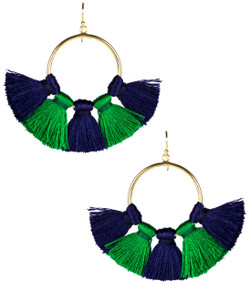 Izzy Gameday Earrings - Navy & Emerald
