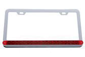 LICENSE PLATE FRAME, CHROME WITH RED LED & RED LENS