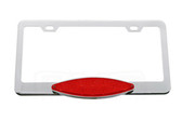 LICENSE PLATE FRAME, CHROME WITH CATEYE RED LED & LENS