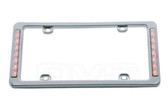 LICENSE PLATE FRAME CHROME RED LED LIGHTS ON OUTER SIDES
