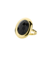 EMPIRE ONYX SHIELD RING - GOLD