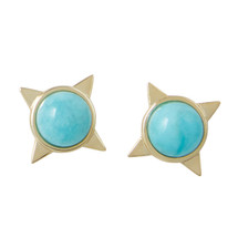 INCA SUN STUD EARRINGS - AMAZONITE - GOLD