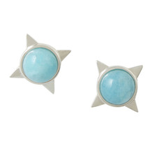 INCA SUN STUD EARRINGS - AMAZONITE - SILVER