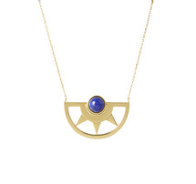 INCA SUN LAPIS NECKLACE - GOLD