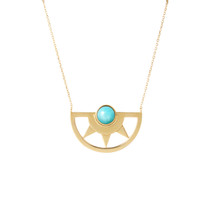 INCA SUN AMAZONITE NECKLACE - GOLD