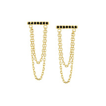 BAR CHAIN EARRINGS - BLACK