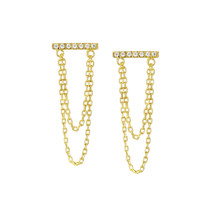 BAR CHAIN EARRINGS - CRYSTAL