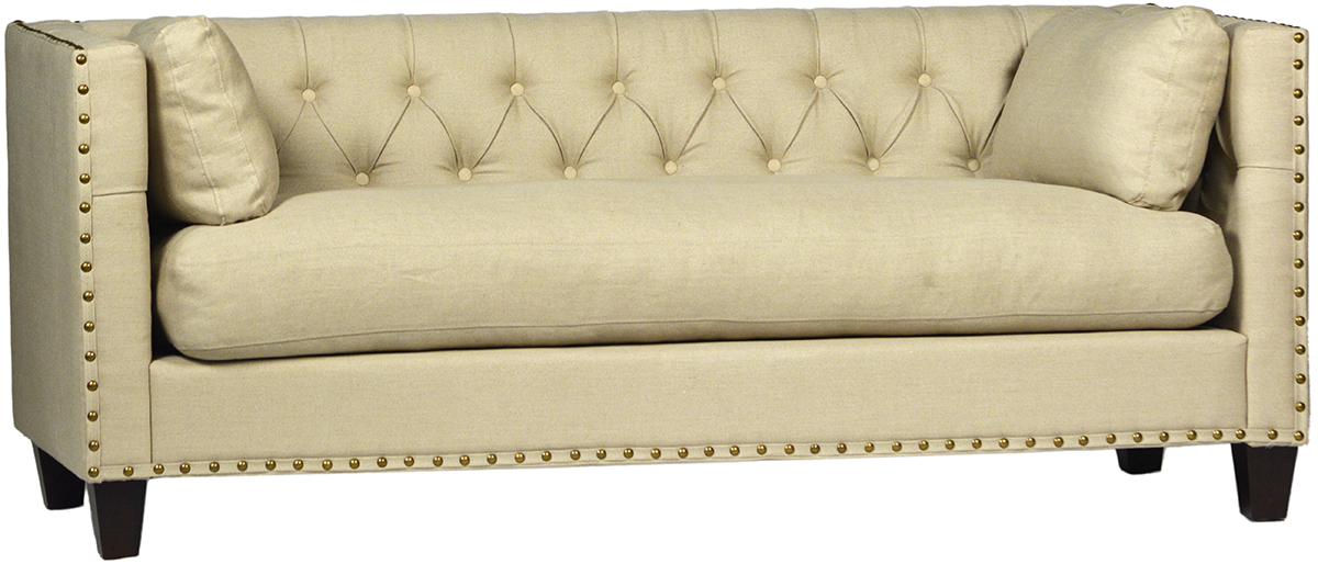 Linen Tufted Sofa With Brass Nails