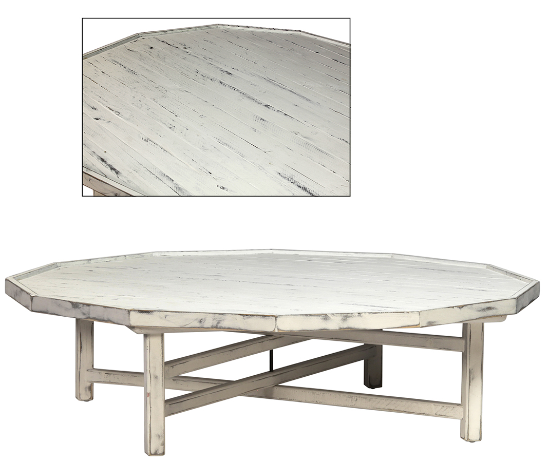 White Cottage Style Coffee Table Decagon Shape