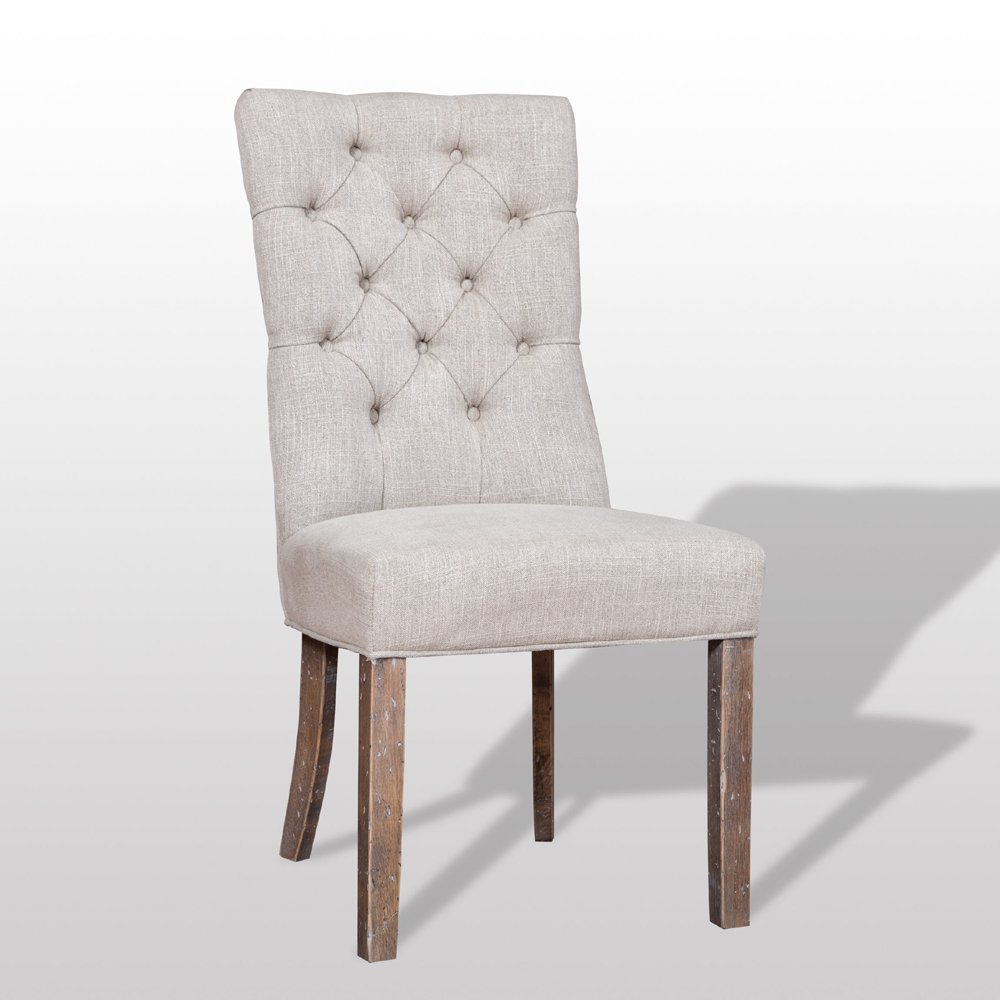 Torrance tufted linen dining chair pair it with any for Tufted dining chairs for sale