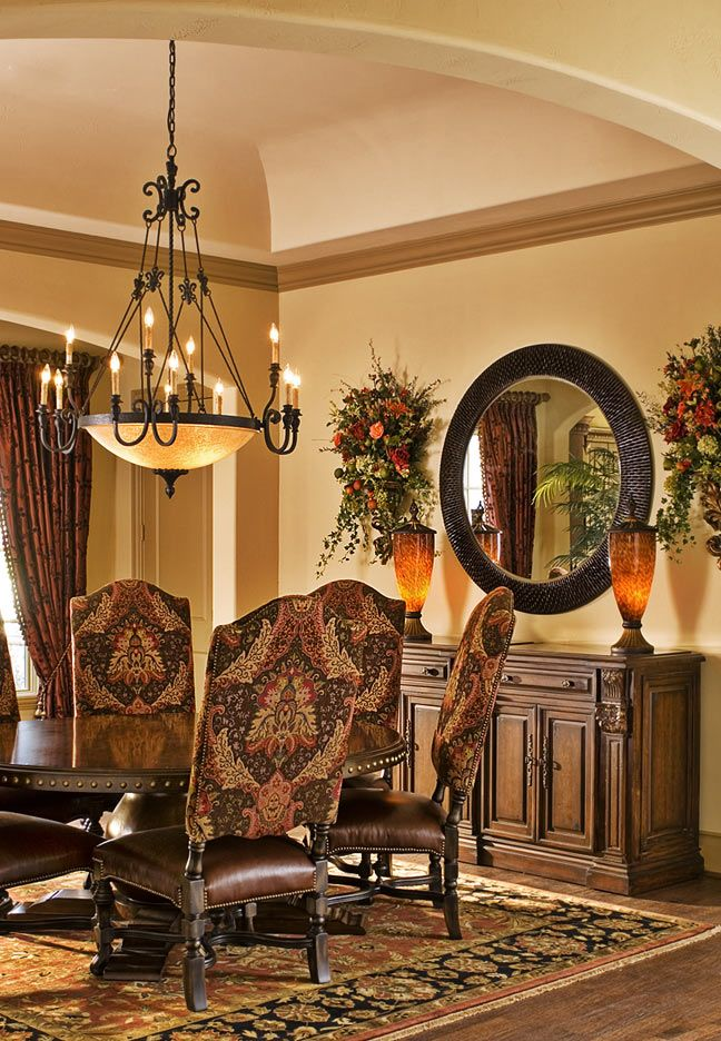Tuscan style furniture ideas for relaxed elegance for Dining area wall design