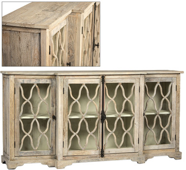 4 Door Glass Door Sideboard Antique Finish