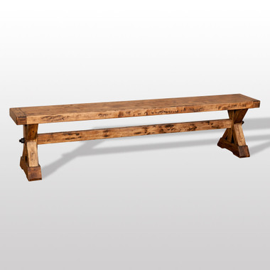 Rubicon X Base Long Rustic Farmhouse Bench