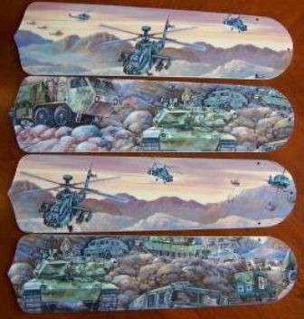 """Army Tanks Military Helicopter Ceiling Fan 42"""" Blades Only 1"""