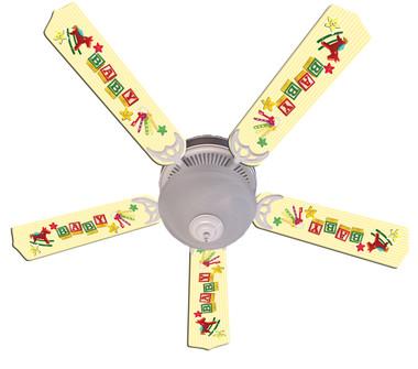 """Baby Nursery Toys Blocks Yellow Ceiling Fan 52"""" 1"""