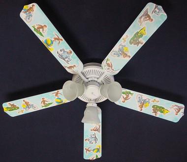"Curious George Monkey Ceiling Fan 52"" 1"