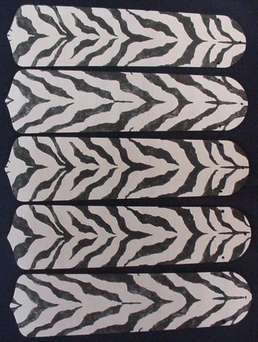 "African Safari Zebra Skin 52"" Ceiling Fan Blades Only 1"