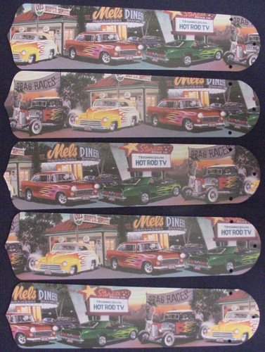 "Hot Rod Cars Burger Diner 52"" Ceiling Fan Blades Only 1"
