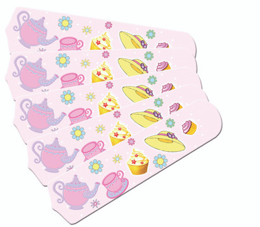 """Girls Pink Tea Time Party 52"""" Ceiling Fan Blades Only 1"""