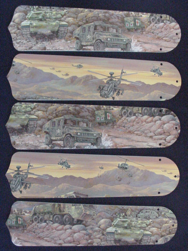 "Army Tanks Military Helicopter 52"" Ceiling Fan Blades Only 1"